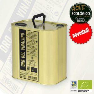 Aceite de oliva virgen extra ecológico en lata de 2.5 litros Oro del Vinalopó