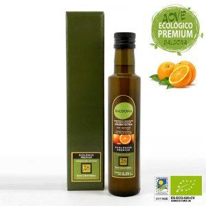 Condimento preparado de aceite ecológico con naranja