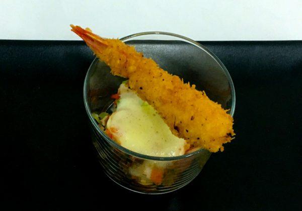 Salpicón de pulpo, helado de AOVE y gambón rebozado CIP FP Batoi